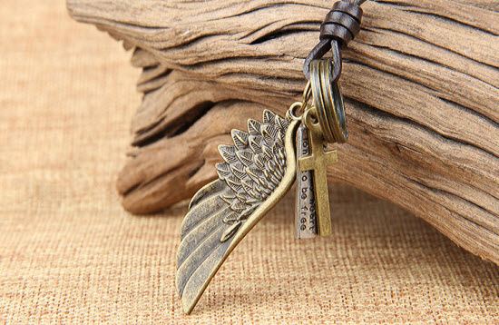 Bronze Vintage Wing Leather Necklace 3