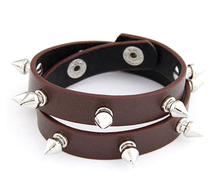 Multi Layer Spike Punk Leather Bracelet Brown 1a