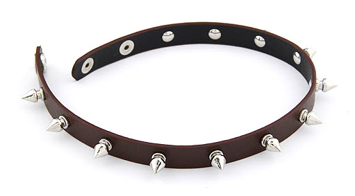 Multi Layer Spike Punk Leather Bracelet Brown 3