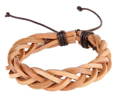 Natural Braided Leather Cuff Bracelet 1