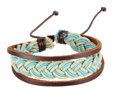 Vintage Blue Braided Leather Cuff Bracelet 1