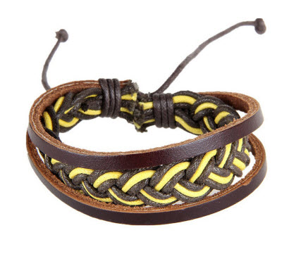 Yellow Brown Braided Leather Cuff Bracelet 1