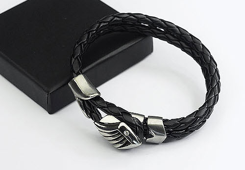 angel wing men leather bracelet 2