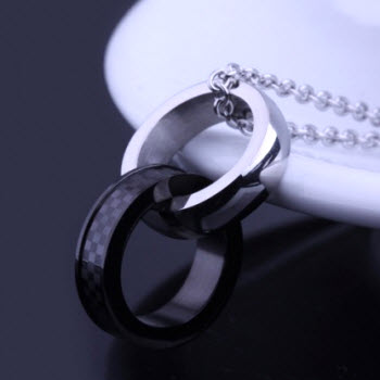 silver black double ring necklace 3