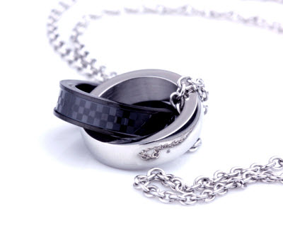 silver black double ring necklace