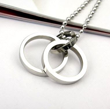silver double ring pendant necklace 2