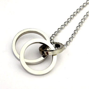 silver double ring pendant necklace