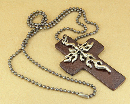 silver tribal cross pendant leather necklace 2