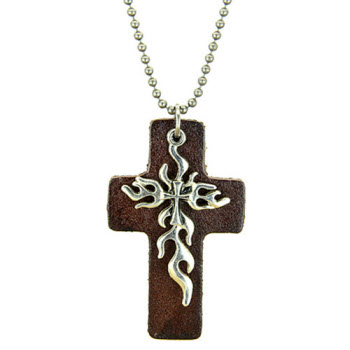 silver tribal cross pendant leather necklace