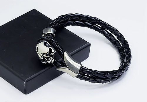 skull men leather bracelet 2