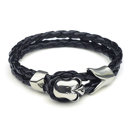 skull men leather bracelet