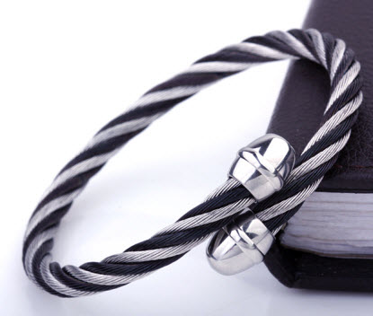 stylish silver black men bracelet 3
