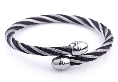 stylish silver black men bracelet