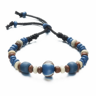 Handmade Bead Bracelet Blue Brown