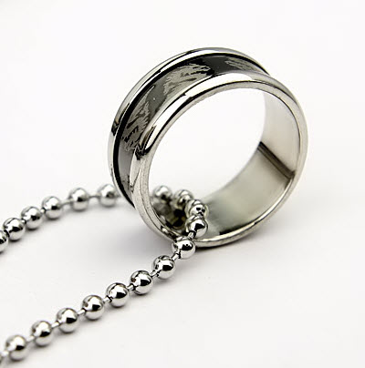 Stylish Dragon Ring Stainless Steel Necklace Unique Mens Jewelry