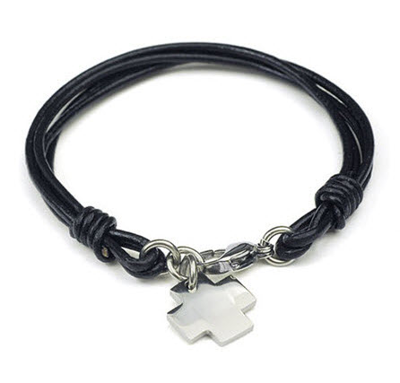 Small Cross Charm Men Leather Bracelet